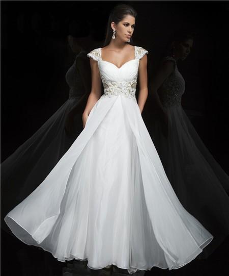 Princess A Line Cap Sleeve Sweetheart Long White Chiffon