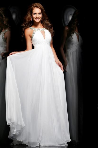 Princess A Line Front Keyhole Long White Chiffon Beaded
