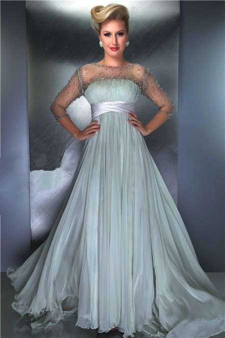 Princess A Line Illusion Neckline Long Chiffon Beaded
