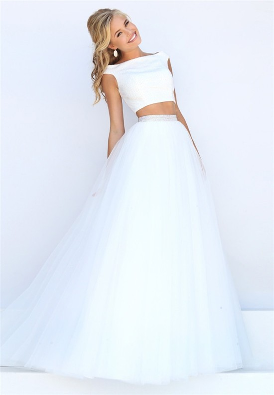 Princess A Line Off The Shoulder Two Piece White Tulle