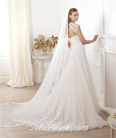 Vintage Lace Cap Sleeves Tulle Princess Wedding Dresses: Princess A Line Sweetheart Cap Sleeve Open Back Tulle Lace