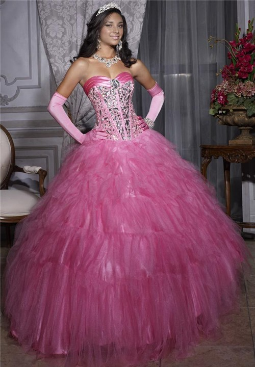 Princess Ball Gown Pink Tulle Crystal Quinceanera Dress