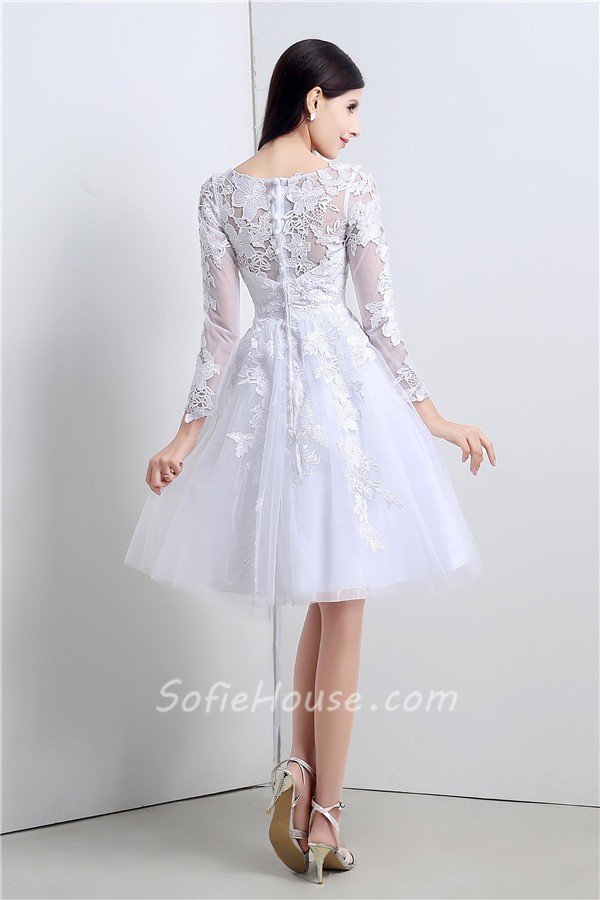 Princess Ball Gown Short White Tulle Lace Sleeve Prom Dress