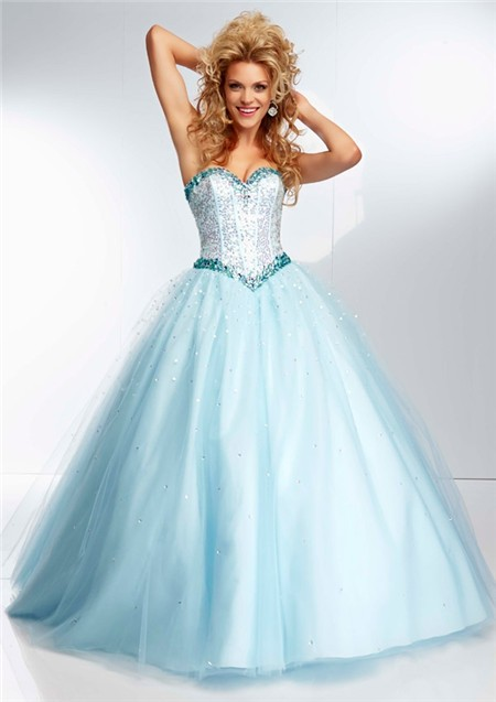 Princess Ball Gown Sweetheart Light Baby Blue Tulle Beaded