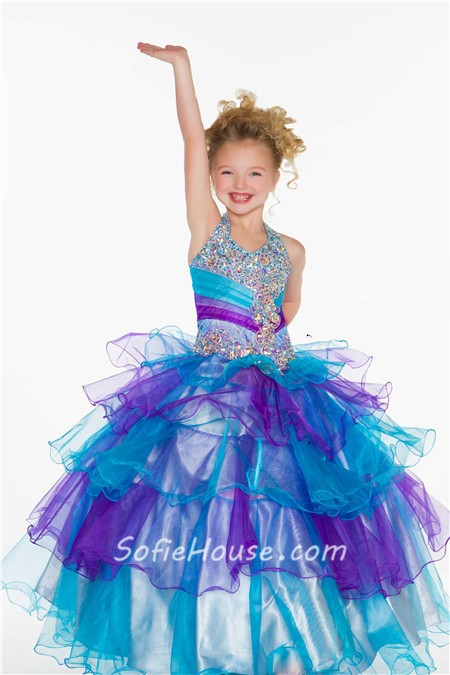 Princess Halter Aqua Pink Organza Tiered Ruffle Beaded