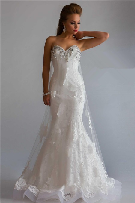 Princess Mermaid Sweetheart Low Back Long White Lace Tulle