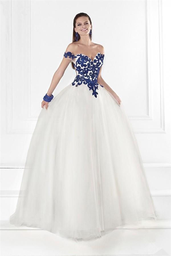 Princess Off The Shoulder Open Back White Tulle Royal Blue