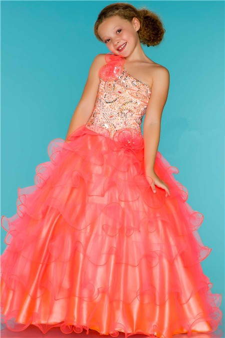 Princess One Shoulder Neon Coral Tulle Ruffle Beaded