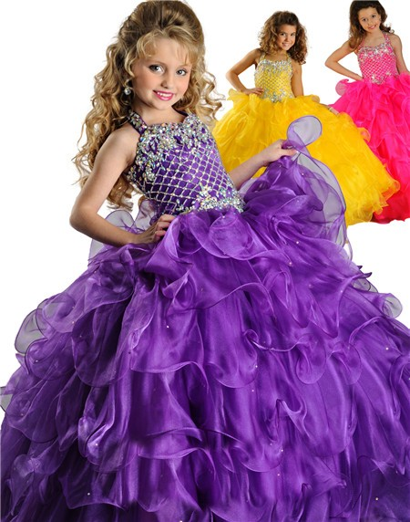 Puffy Ball Gown Halter Purple Organza Ruffle Beaded Little ...