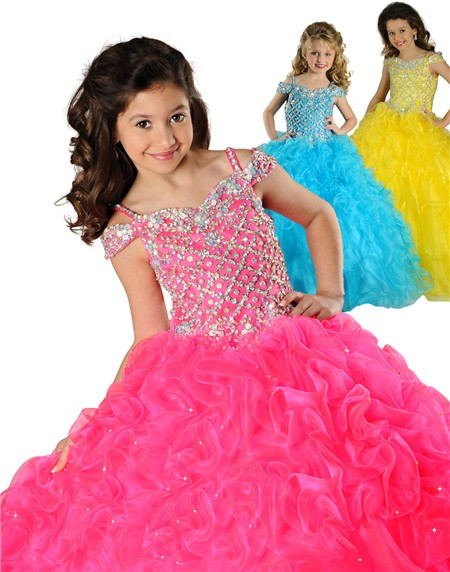 Puffy Ball Gown Hot Pink Organza Beaded Little Girls Party