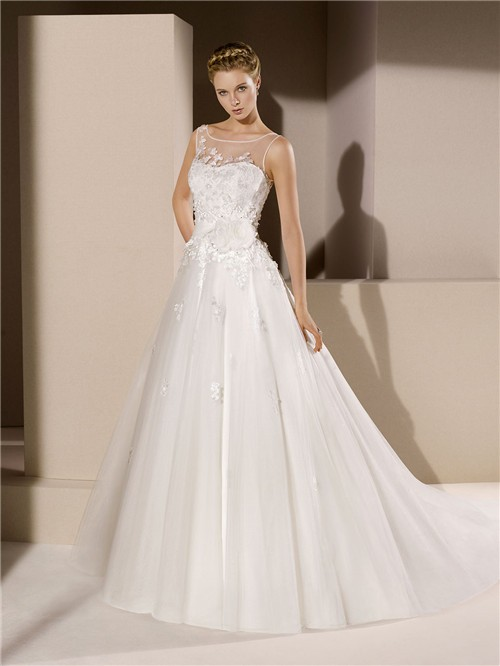 Ball Gown Illusion Bateau Neckline Sheer Back Tulle Lace Wedding Dress With Flowers