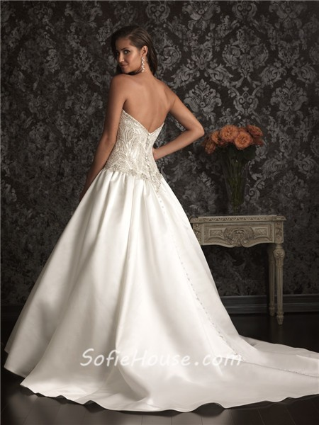 Romantic Ball Gown Sweetheart Satin Unique Beaded Pearl