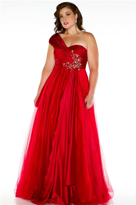 Royal A Line One Shoulder Long Red Silk Tulle Plus Size
