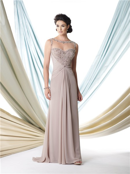 Sexy A Line Illusion Bateau Neckline Grey Chiffon Beaded
