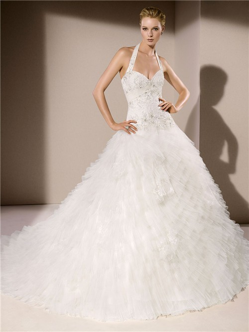Y Ball Gown Halter Sweetheart Neckline Low Back Tiered Tulle Ruffle Wedding Dress Chapel Train