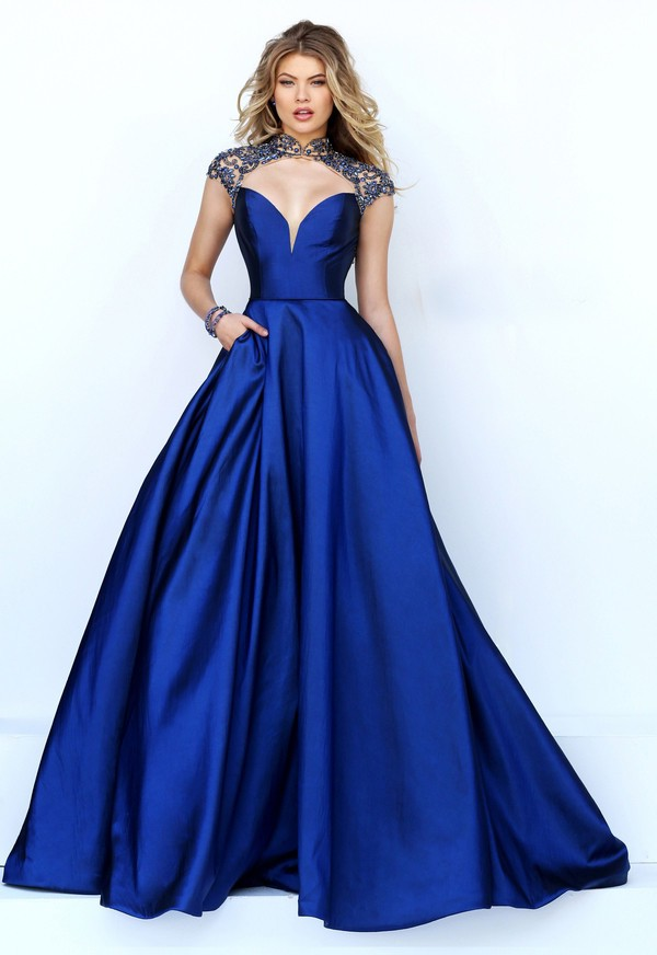 Sexy Cut Out Open Back Royal Blue Satin Beaded Prom Dress