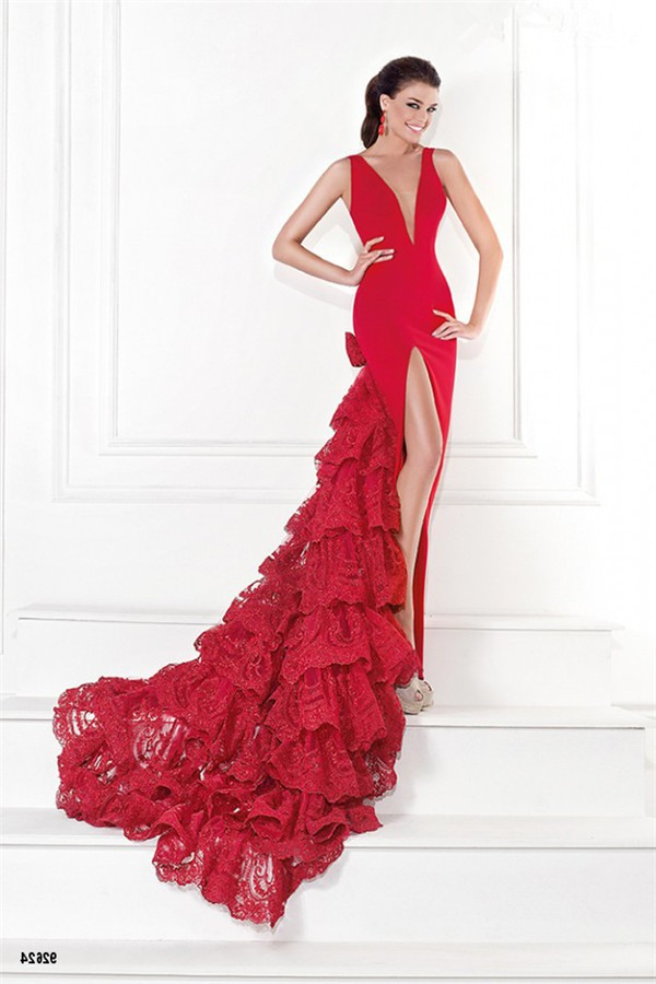 Sexy Deep V Neck Low Back High Slit Red Lace Ruffle