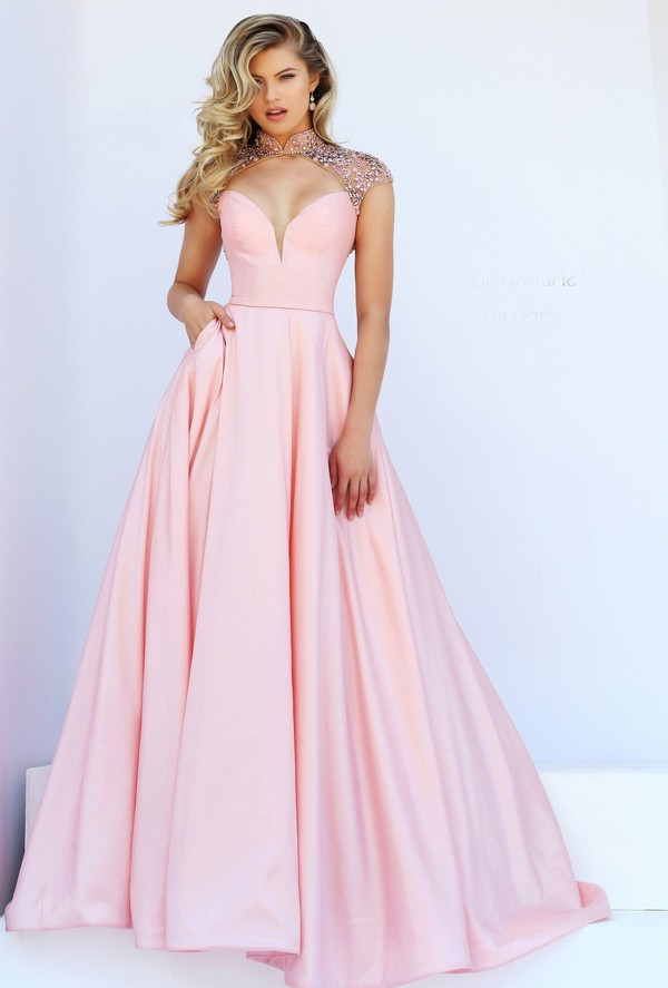 Sexy Front Cut Out Open Back Light Pink Satin Beaded Prom