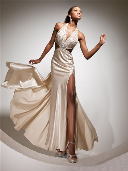 Sexy Halter Backless Long Champagne Silk Beading Prom