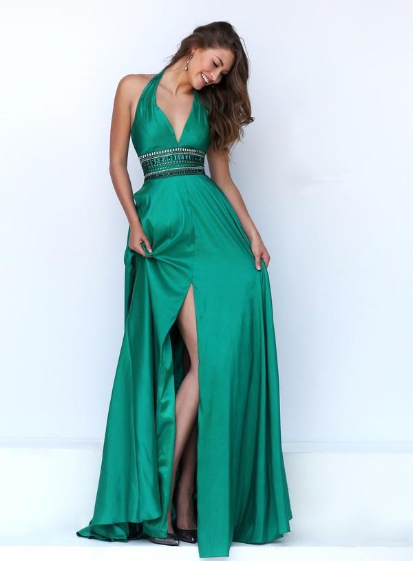 Sexy Halter Front High Slit Long Emerald Green Silk Beaded