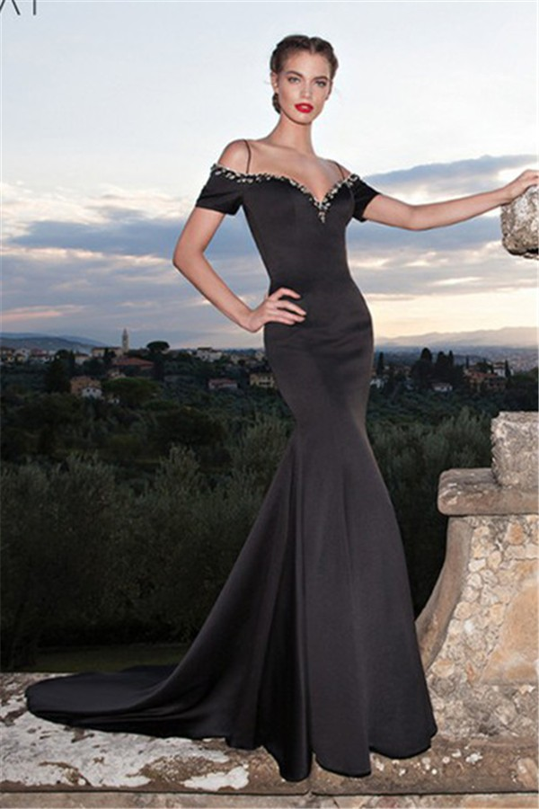 Sexy Mermaid Off The Shoulder Low Back Black Satin Prom