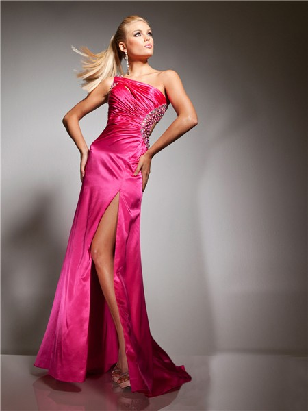 Sexy Mermaid One Shoulder Backless Long Hot Pink Silk