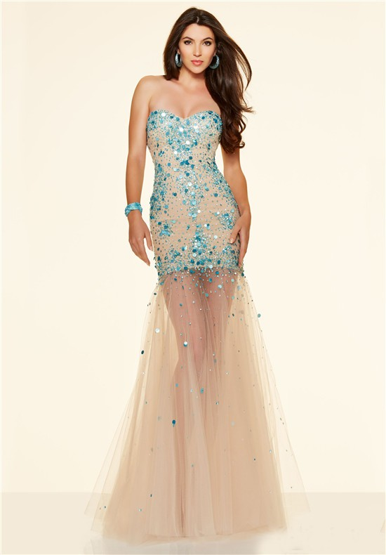 Sexy Mermaid Strapless Champagne Tulle Blue Sparkle Beaded
