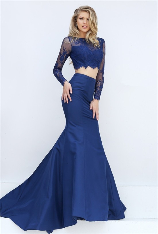 Sexy Mermaid Two Piece Long Sleeve Navy Blue Lace Satin