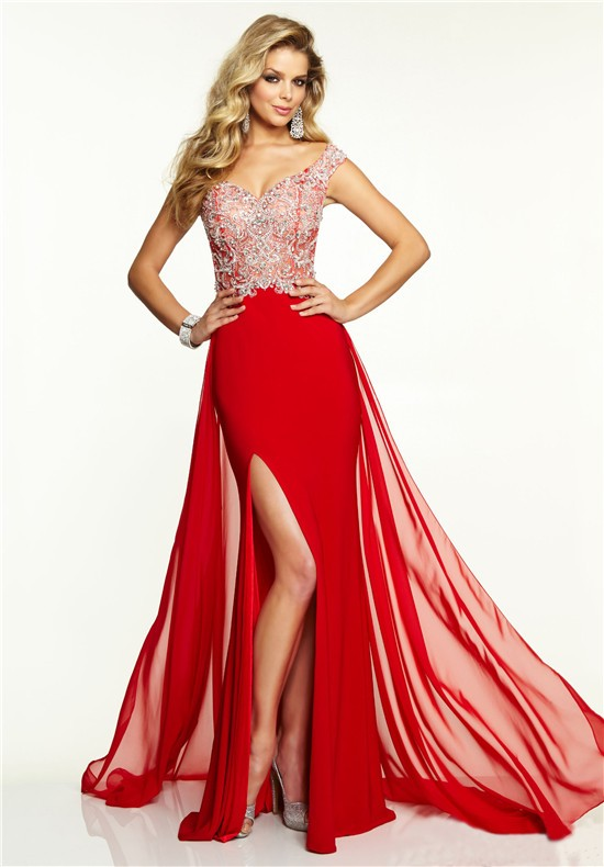 Sexy Off The Shoulder Long Red Chiffon Beaded Prom Dress