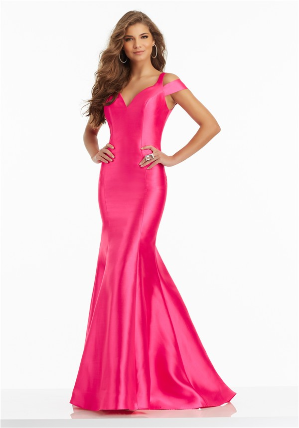 Sexy Off The Shoulder Open Back Hot Pink Satin Ruffle Prom