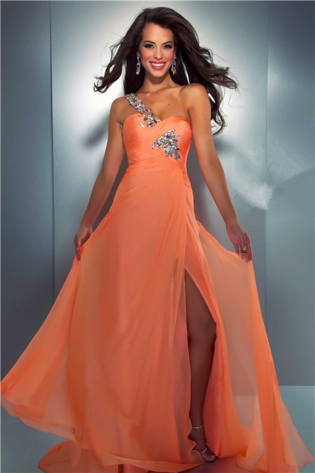Sexy One Shoulder Long Orange Chiffon Beaded Crystal Prom