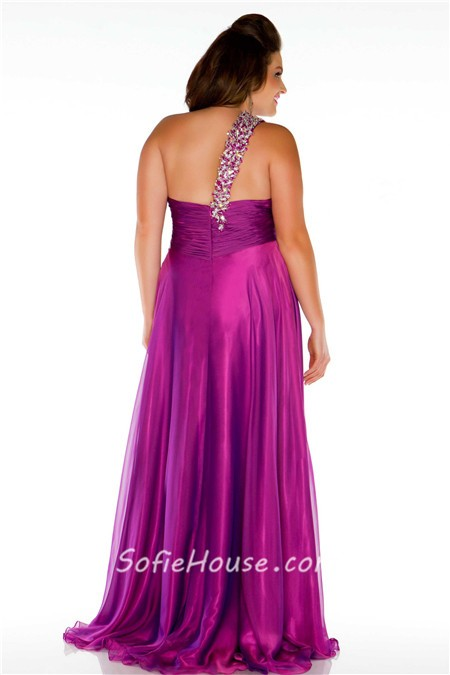 Sexy One Shoulder Long Purple Chiffon Beaded Plus Size