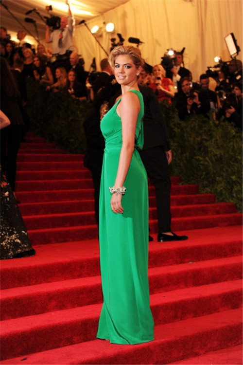 Sexy Scoop With Slit Long Green Silk Kate Upton Red Carpet