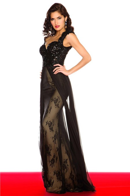 Sexy Sheath Cap Sleeve Backless Long Black Lace Beaded