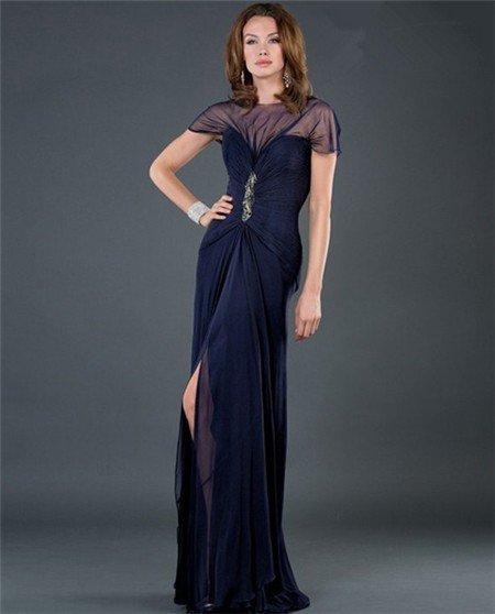 Sexy Sheer Long Navy Blue Chiffon Slit Evening Dress With