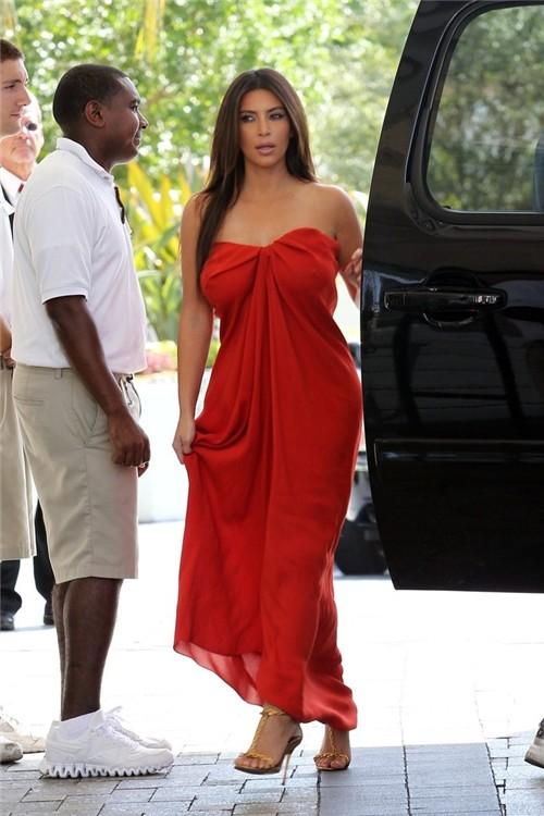 Sexy Strapless High Low Orange Chiffon Kim Kardashian