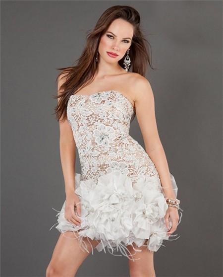 Lace Short Prom Dresses Strapless White Nude Satin Mini