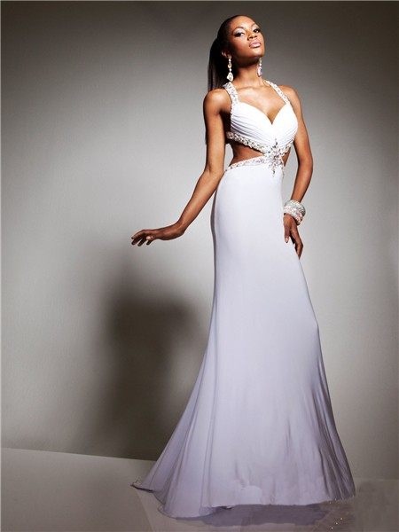 Sexy Sweetheart Straps Backless Long White Chiffon Beading