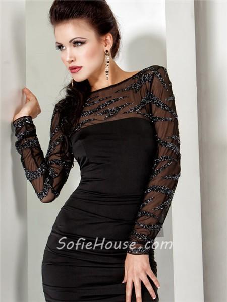 Sexy Tight Short Black Sheer Beaded Cocktail Evening Wear