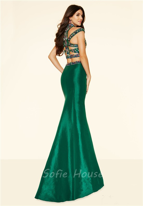 Sexy Two Piece Cut Out Emerald Green Taffeta Colorful