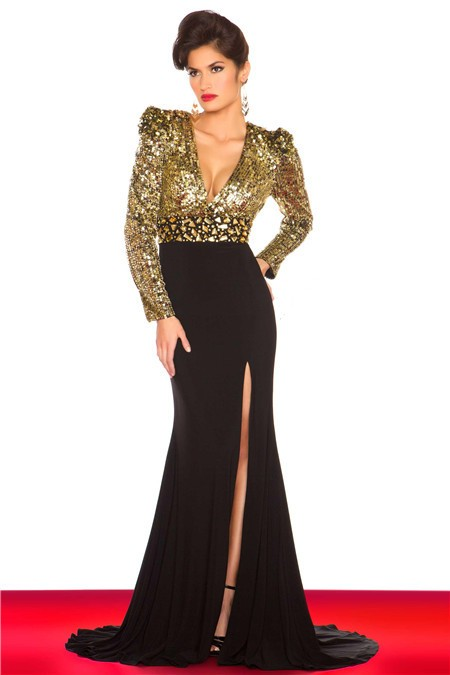 Sexy V Neck Long Sleeve Gold Sequin Black Chiffon Evening
