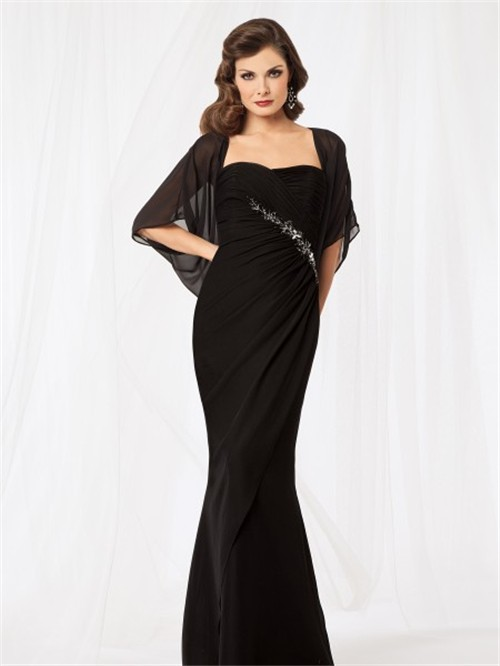 Sexy Mermaid Sweetheart Floor Length Black Chiffon Mother