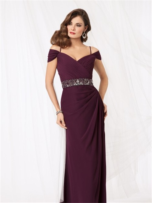 Sexy Off Shoulder Floor Length Purple Chiffon Mother Of