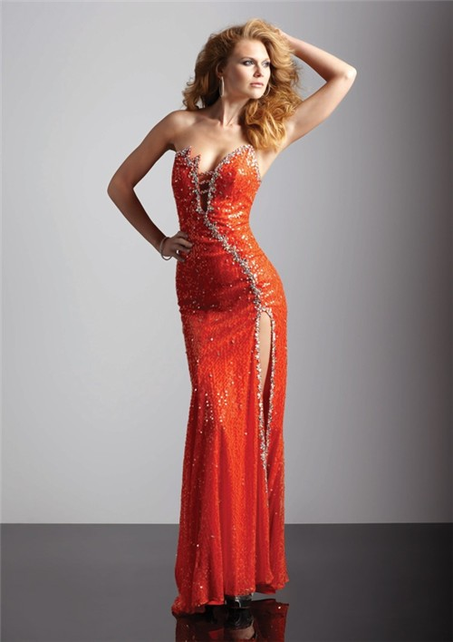 Sexy Sheath Asymmetric Long Orange Sequined Prom Dress