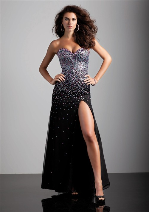 Sexy Sheath Sweetheart Long Black Beaded Chiffon Prom
