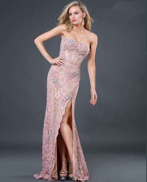 Sexy sheath sweetheart long pink beading lace evening