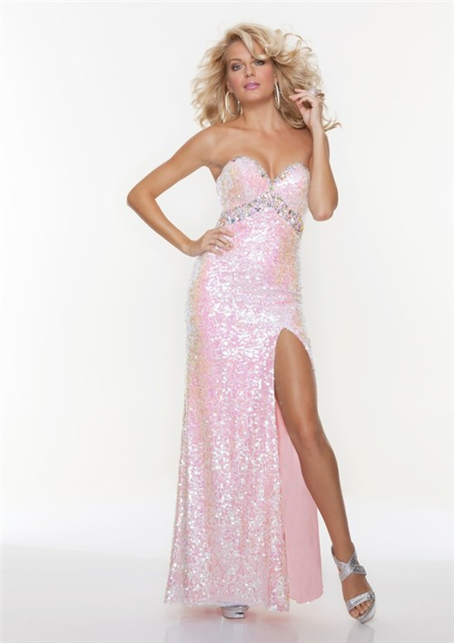 Sexy Sheath Sweetheart Long Pink Sequined Prom Dress With