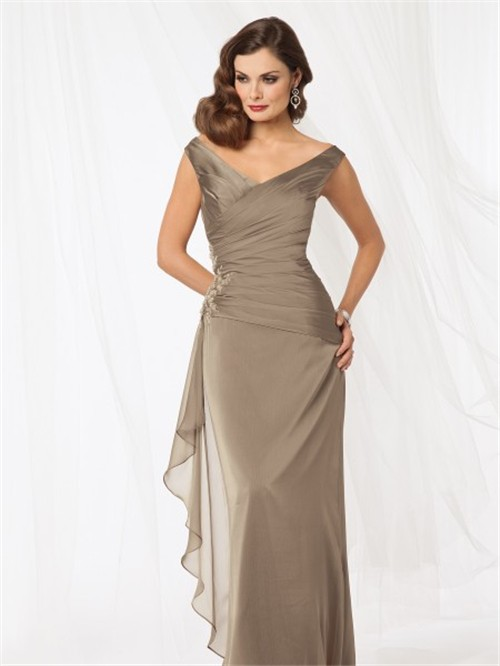 Sexy Sheath V Neck Floor Length Brown Chiffon Mother Of
