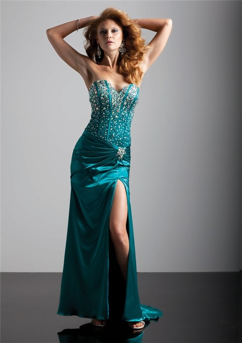 Navy Blue Color Code >> Sexy sweetheart long hunter green silk prom dress with ...
