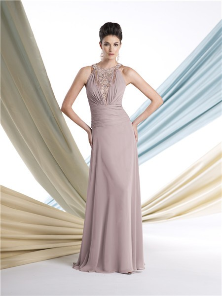 Sheath Halter Chiffon Ruched Mother Of The Bride Formal